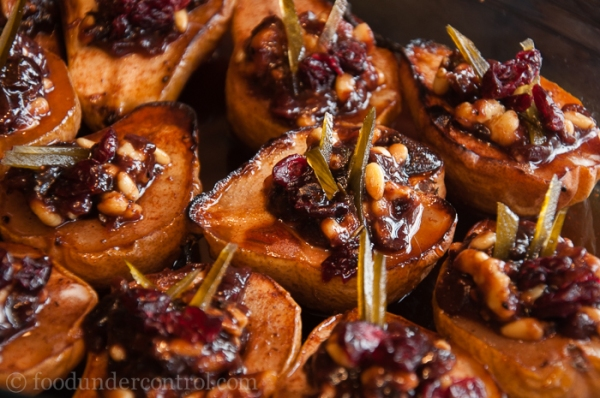 Finished Roasted Pears with Cranberries, Pine Nuts, Candied Watermelon Rind