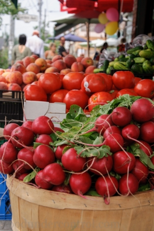 Jumbo Radishes, Tomatoes and Peaches - Ontario Fruit and Vegetables