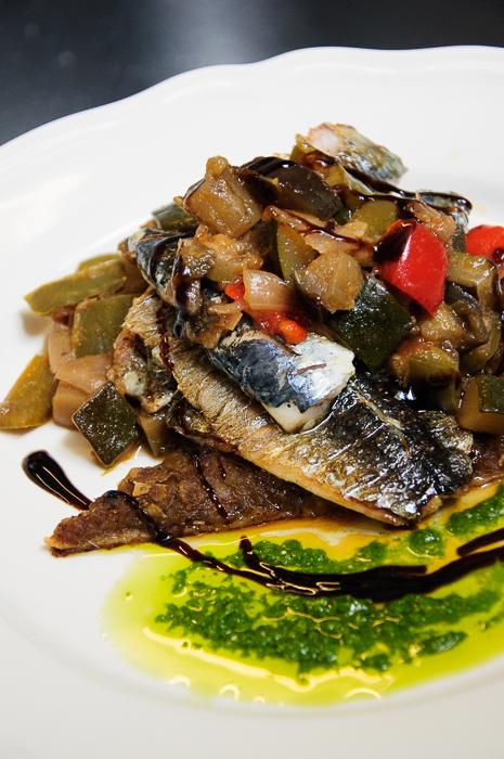 Grilled sardines, pisallidiere, ratatouille, basil pesto